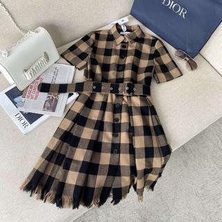 ディオール(Dior)のDior ディオール チェック ドレス ワンピース(ひざ丈ワンピース)