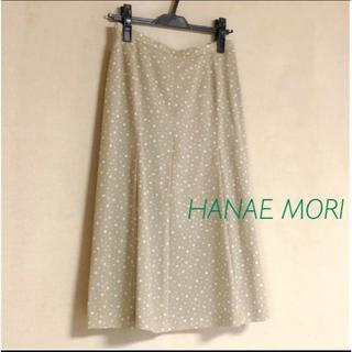 ハナエモリ(HANAE MORI)の良品★モリ ハナエ ベージュ ドットプリントスカート (ひざ丈スカート)