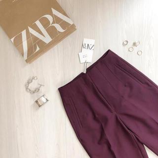 ザラ(ZARA)のZARA2020新色*プラム ハイウエストパンツ(カジュアルパンツ)