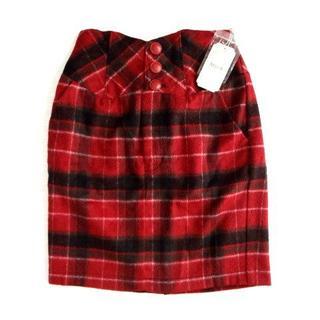ミーア(MIIA)の新品 定価7500円 MIIA ミーア ウール タイト 膝丈 スカート 赤 (ひざ丈スカート)