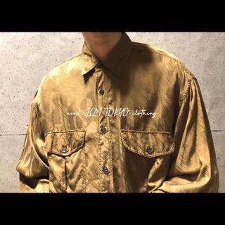古着 メンズ 黄土色 ダブルポケット オーバーサイズ シルクシャツ(シャツ)