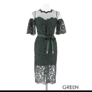 デイジーストア(dazzy store)のグリーン レース ドレス(ミディアムドレス)