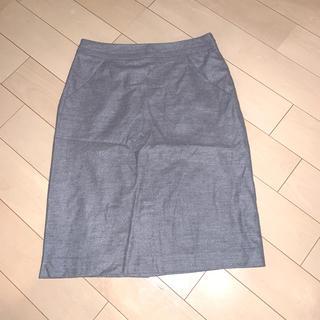ミッシェルクラン(MICHEL KLEIN)のMICHEL KLEIN ひざ丈タイトスカート グレー 38(ひざ丈スカート)
