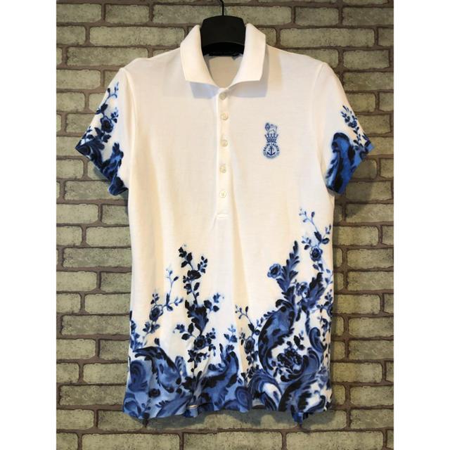 Ralph Lauren(ラルフローレン)のラルフローレン  水墨画 フラワー ポロシャツ 極美品 レディースのトップス(ポロシャツ)の商品写真