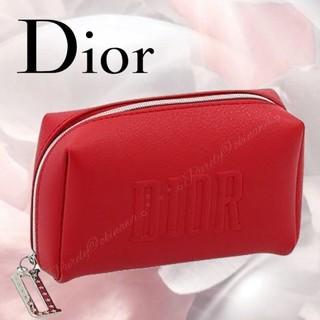 ディオール(Dior)の【Dior】新作 ディオール レザー調 スクエア形 コスメ ポーチ レッド(ポーチ)