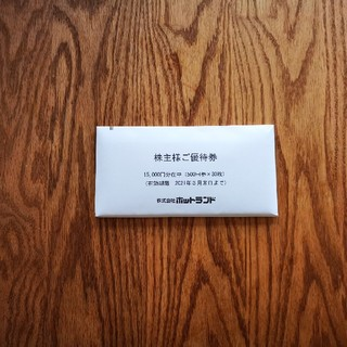 ホットランド 株主優待券 15000円分 築地銀だこ(フード/ドリンク券)