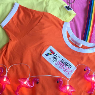 バブルス(Bubbles)の【 7%morePINK 】カラフルトリムTEE オレンジ F(Tシャツ/カットソー(半袖/袖なし))