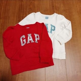 ギャップ(GAP)のGAP トレーナー 2枚セット 100 赤 アイボリー(Tシャツ/カットソー)