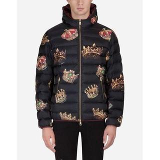 ドルチェアンドガッバーナ(DOLCE&GABBANA)のDolce&Gabbana パッドプリントナイロンジャケット フード付き 44(ダウンジャケット)