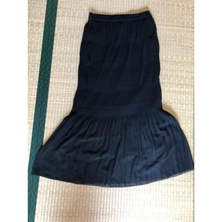 ジーユー(GU)のブラック ロングスカート マキシスカート(ロングスカート)