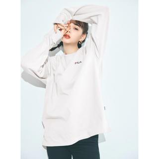 グレイル(GRL)のGRL FILA ビッグロンT オフホワイト、チャコール(Tシャツ/カットソー(七分/長袖))