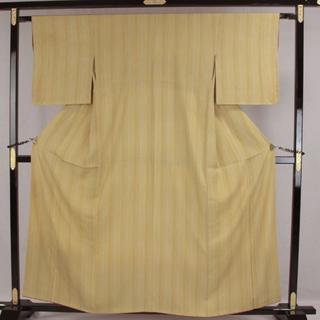 AC5903 小紋 160㎝ 訳有超特価 黄土色系縦縞 簡易発送(着物)