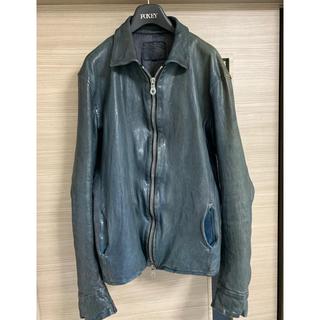 イサムカタヤマバックラッシュ(ISAMUKATAYAMA BACKLASH)のbacklash 襟付き 美品 ジャパンホース ライダース  ブルー(ライダースジャケット)