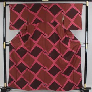 AC5970 小紋 165㎝ 京都一流料亭女将の着物 茶系と牡丹色系(着物)