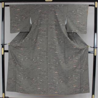 AC6044 仕付未使用小紋 152㎝ 超特価 グレー系(着物)