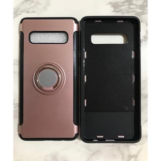 ギャラクシー(Galaxy)のGalaxyS10Plus カッコいい リング付き耐衝撃ケース ピンク(Androidケース)