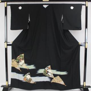 AC6056 仕付未使用黒留袖 162㎝ 扇子柄(着物)