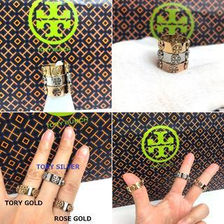 トリーバーチ(Tory Burch)のトリーバーチ MILGRAIN LOGO RING☆指輪 ゴールド US6(リング(指輪))