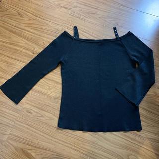 インディヴィ(INDIVI)のINDIVI   トップス 七分袖 黒(カットソー(長袖/七分))