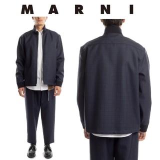 マルニ(Marni)のMARNI シャドーチェック ハイネック ジップアップブルゾン(ブルゾン)