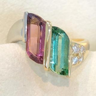 ✨2種のカラー✨トルマリン❣️艶々!ダイヤ K18 Pt900 リング 指輪(リング(指輪))