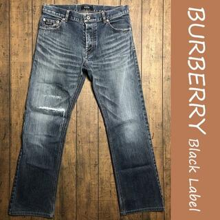 バーバリーブラックレーベル(BURBERRY BLACK LABEL)のBURBERRY ストレートデニム 70/バーバリー、ストレッチ、ダメージ(デニム/ジーンズ)