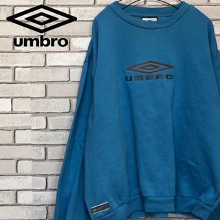 アンブロ(UMBRO)のレア UMBRO アンブロ トレーナー センタービッグロゴ刺繍 ライトブルー L(スウェット)