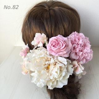 No.82  ピオニーとバラの髪飾り ヘア飾り ヘッドドレス(その他)