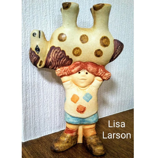 リサラーソン(Lisa Larson)の◆最終価格SALE◆ 新品 リサラーソン 長靴下のピッピ 馬とピッピ(置物)
