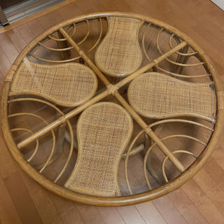 アクタス(ACTUS)の美品 ラタン センターテーブル ローテーブル 円卓 インテリア 家具 昭和 籐(ダイニングテーブル)