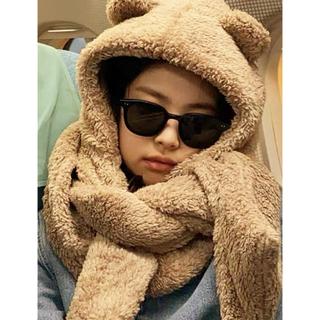 Jennie同型 熊マフラー