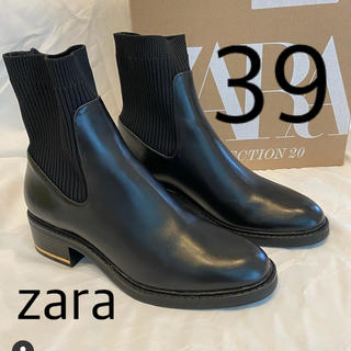 ザラ(ZARA)のZARA ソックス付きフラットショートブーツ 39(ブーツ)