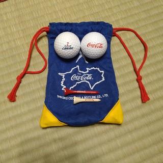 コカコーラ(コカ・コーラ)の非売品コカ・コーラ ゴルフボール2セット(4個)ゴルフティ付きセット(ノベルティグッズ)