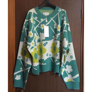 マルタンマルジェラ(Maison Martin Margiela)のM新品 メゾン マルジェラ オーバーサイズ フラワー ニット セーター グリーン(ニット/セーター)