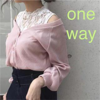 ワンウェイ(one*way)の新品 one way ワンウェイ Vネック カーディガン ゆるニット ピンク(カーディガン)