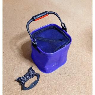 取っ手付き 水汲みバケツ バッカン 釣り 折りたたみ 水くみ ロープ付き バケツ(その他)