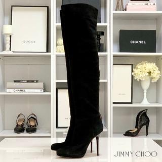 ジミーチュウ(JIMMY CHOO)の1664 ジミーチュウ スエード ニーハイブーツ 黒(ブーツ)