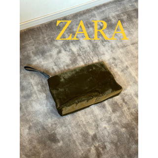 ザラ(ZARA)の新品未使用 ZARA ザラ ベロアクラッチバック カーキ(クラッチバッグ)