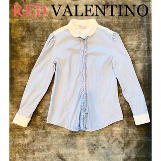 レッドヴァレンティノ(RED VALENTINO)のレッドヴァレンティノ REDVALENTINO フリル ストライプシャツブラウス(シャツ/ブラウス(長袖/七分))