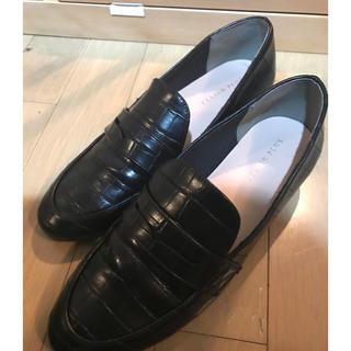 一度着用 amiami レインシューズ ローファー ブラック クロコ  24(ローファー/革靴)