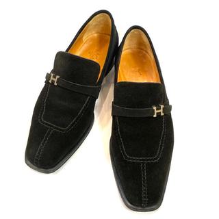 エルメス(Hermes)のエルメス スエード #41  ブラック メンズ 靴 ローファー ビジネスシューズ(スリッポン/モカシン)