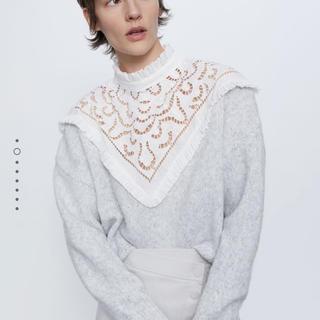 ザラ(ZARA)の新品ZARA‼︎コントラスト刺繍セーター(ニット/セーター)