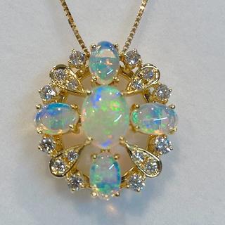 タサキ(TASAKI)の【TASAKI】ダイヤ オパール K18 ネックレス 20Y-105(ネックレス)