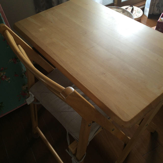 木製☆成人用机と椅子セット(学習机)