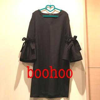 ブーフー(boohoo)のboohooのワンピース 黒 Vネック 長袖 M〜L位(ひざ丈ワンピース)