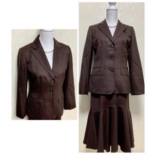 スキャパ(SCAPA)のSCAPA スキャパ スカートスーツ ストライプ ブラウン サイズ40(スーツ)