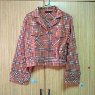 ダブルクローゼット(w closet)のオレンジ チェック カットソー*(シャツ/ブラウス(半袖/袖なし))