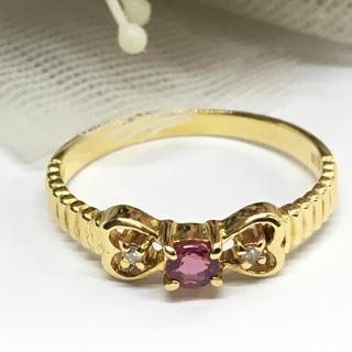 K18リング ルビーリング ダイヤ付き(リング(指輪))
