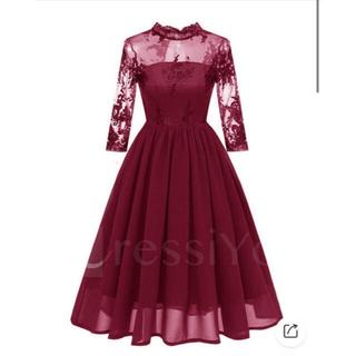 【ほぼ未使用】ドレス ミディアム ワインレッド(ミディアムドレス)