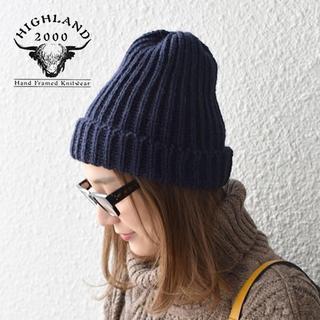 ビームス(BEAMS)のHIGHLAND 2000✨ハイランド リブ編みウール ニット帽ボブキャップ(ニット帽/ビーニー)